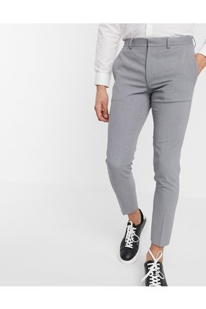 ASOS DESIGN Super skinny cropped smart trousers in grey