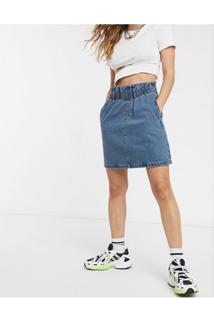 Noisy May Denim mini skirt with paperbag waist in blue