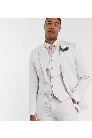 ASOS DESIGN Tall wedding slim suit jacket in light grey stretch cotton