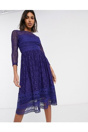 ASOS DESIGN Mujer Cóctel - Premium lace midi skater dress in navy