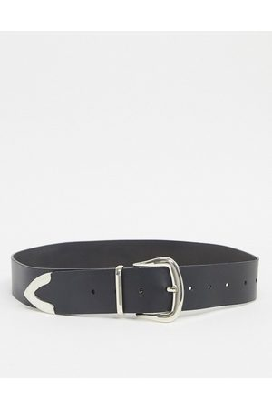ASOS Mujer Cinturones - Leather tipped jeans belt in black with shiny silver metal