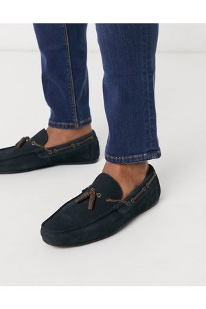 ASOS DESIGN Driving shoes in navy suede with lace detail