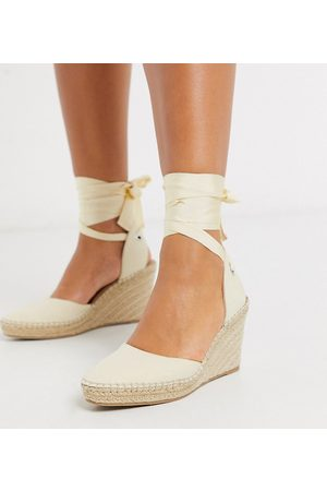 ASOS Wide Fit Time tie leg espadrille wedges in natural