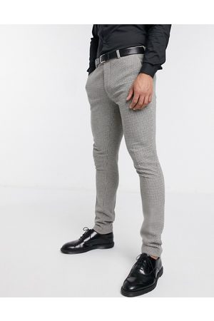 ASOS DESIGN Wedding super skinny suit trousers in grey wool blend micro houndstooth