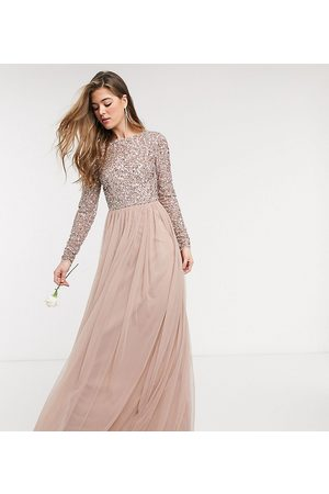 Maya Bridesmaid long sleeve v back maxi tulle dress with tonal delicate sequin in taupe blush