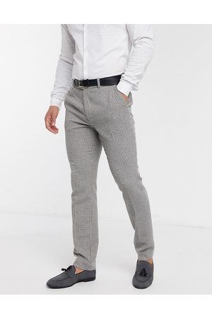 ASOS Wedding skinny suit trousers in grey wool blend micro houndstooth