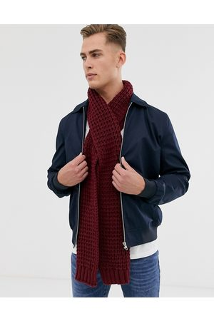 ASOS DESIGN Knitted scarf in burgundy
