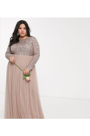 Maya Bridesmaid long sleeve v back maxi tulle dress with tonal delicate sequin overlay in taupe blush