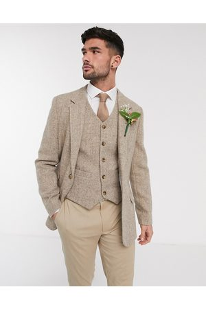 ASOS Wedding Harris Tweed slim blazer with wool herringbone in camel