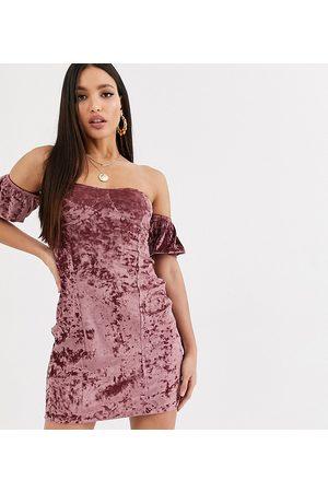 ASOS ASOS DESIGN Tall velvet off the shoulder mini dress in mauve