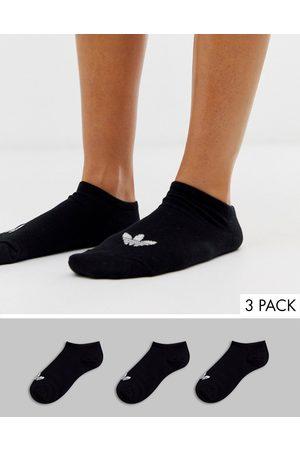 adidas 3 pack trefoil trainer socks in black