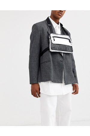 ASOS Chest harness bag in silver metallic with mesh detail