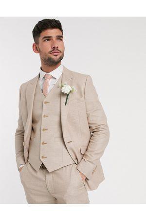ASOS Wedding skinny suit jacket in micro texture in camel