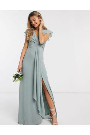 TFNC Bridesmaid flutter sleeve ruffle detail maxi dress in sage