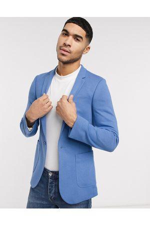 ASOS Super skinny jersey blazer in mid blue