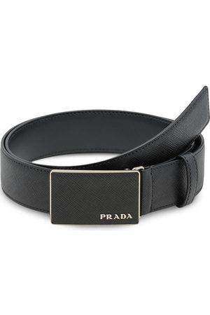 Prada Hombre Cinturones - Pebbled effect logo buckle belt