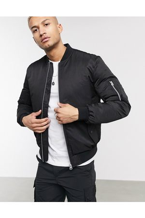 ASOS Quilted bomber jacket with MA1 pocket in black