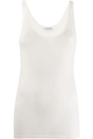 Saint Laurent Camiseta tejida semitranslúcida de canalé