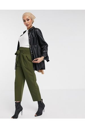 ASOS Tailored tie waist ankle grazer trousers