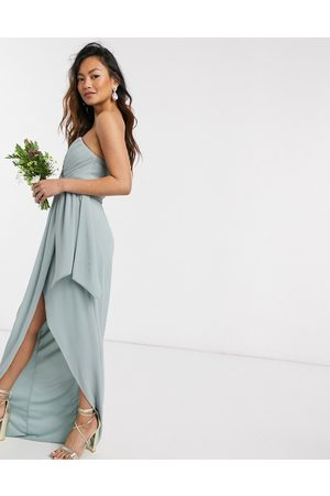 TFNC Bridesmaid exclusive bandeau wrap midaxi dress with pleated detail in sage