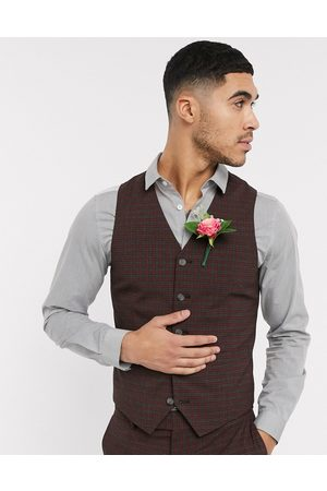 ASOS Wedding skinny suit waistcoat in mini check in burgundy and grey