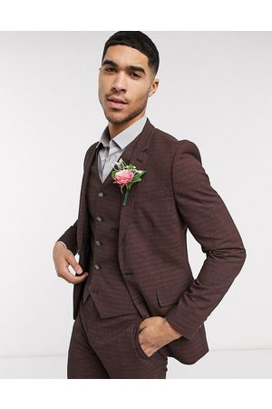 ASOS Wedding skinny suit jacket in mini check in burgundy and grey