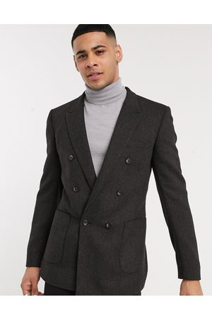 ASOS Hombre Sacos - Skinny double breasted blazer in charcoal wool mix twill