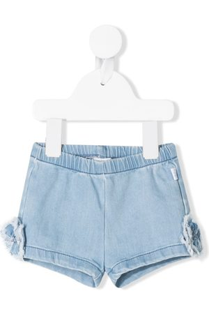 Il Gufo Floral-appliqué denim shorts