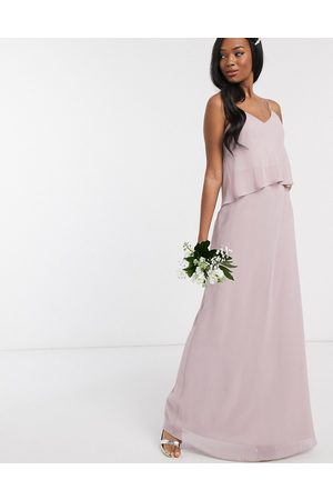 Maids to Measure Bridesmaid overlay slip maxi chiffon dress