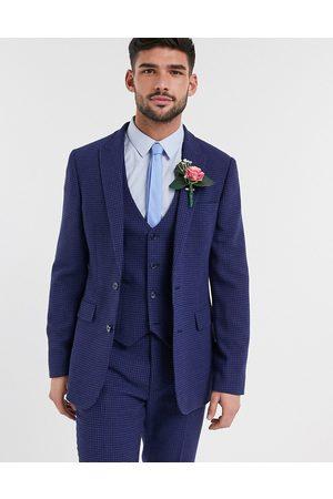 ASOS Wedding skinny suit jacket in blue wool blend micro houndstooth