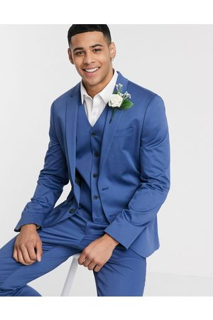 ASOS Wedding skinny suit jacket in blue stretch cotton