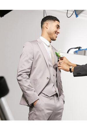 ASOS Wedding skinny suit jacket in grey stretch cotton