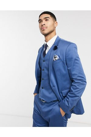 ASOS Wedding slim suit jacket in blue stretch cotton