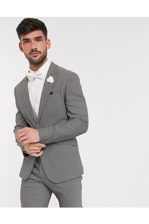 ASOS Wedding skinny suit jacket in black and white micro texture