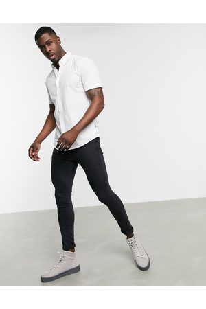Only & Sons Short sleeve stretch cotton shirt in white