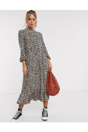 ASOS Button through tiered smock maxi dress in leopard print