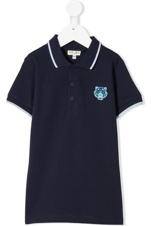Kenzo Polos - Cotton tiger patch polo shirt