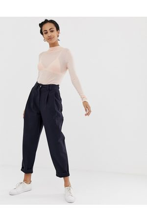 ASOS Ovoid pleat front peg trouser in navy