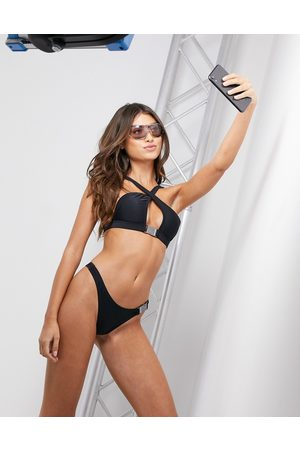 Candypants Cross front bikini top with buckle detailing in black