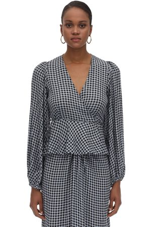 Ganni Printed Wrapped Crepe Top
