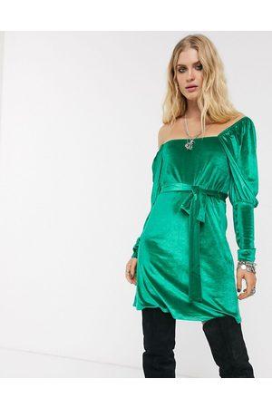 ASOS Long sleeve square neck puff sleeve velvet mini dress in green