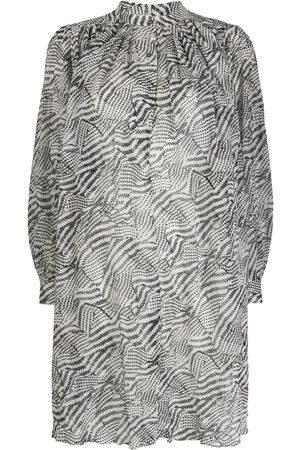 Isabel Marant Mujer Estampados - Vestido recto fruncido con estampado abstracto