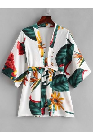 Zaful Plant Print Belt Kimono