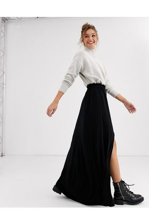 ASOS Maxi skirt with shirred waist in black