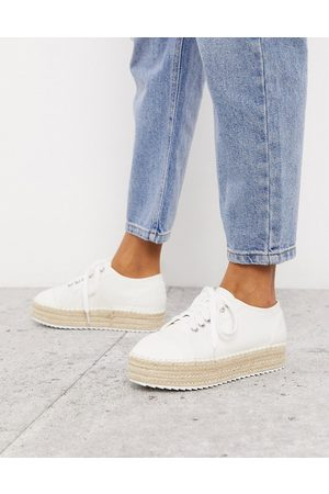 ASOS January lace up espadrille trainers in white