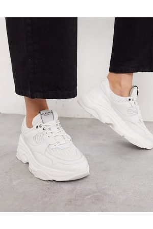 Selected Femme chunky leather trainers with sports mesh in white