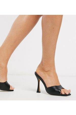 ASOS Wide Fit Nero square toe mules in black