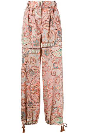 Etro Mujer Pantalones y Leggings - Pantalones con cordón en los tobillos y motivo de cachemira
