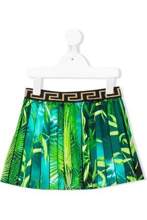 VERSACE Leaf print pleat skirt