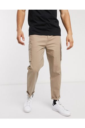 ASOS Relaxed cargo trousers in stone